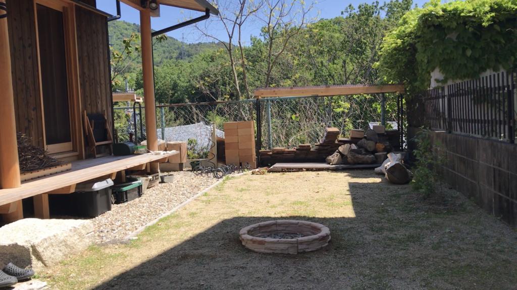 自宅の庭にファイヤーピット