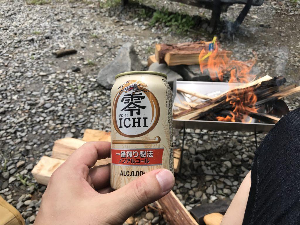 ソロキャンプ でノンアルビール